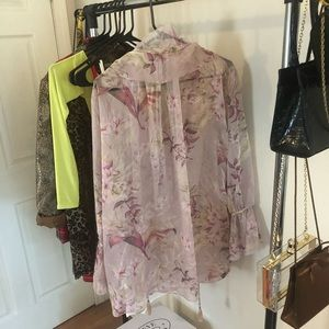 Pink Floral Flimsy Blouse